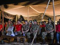 Crown Prince, accompanied by Haqiq initiative participants, attends night military drill