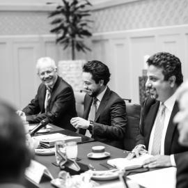 سمو الأمير الحسين، ولي العهد خلال توقيع اتفاقية شراكة بين مؤسسة ولي العهد وشركة إيرباص