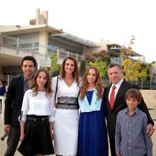 H.R.H. Crown Prince Al Hussein bin Abdullah II with Their Majesties King Abdullah II and Queen Rania Al Abdullah, T.R.H. Prince Hashim bin Abdullah II, Princess Iman  bint Abdullah II and Princess Salma bint Abdullah II, Amman, 2014