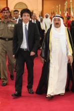 سمو الأمير الحسين بن عبدالله الثاني، ولي العهد، مع أمير دولة الكويت سمو الشيخ صباح الأحمد الجابر الصباح