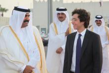 سمو الأمير الحسين بن عبدالله الثاني، ولي العهد،  والشيخ حمد بن خليفه آل ثاني أمير دولة قطر