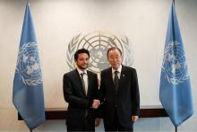 HRH Crown Prince Al Hussein bin Abdullah II meets with Secretary-General of the United Nations, Ban Ki-moon (22/4/2015)