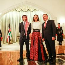 Their Majesties King Abdullah Bin Al Hussein and Queen Rania Al Abdullah and HRH Crown Prince Hussein Bin Abdullah at the Jordanian 69th Independence Day
