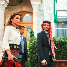 Her Majesty Queen Rania Al Abdullah and HRH Crown Prince Hussein Bin Abdullah at the Jordanian 69th Independence Day