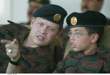 H.R.H. Crown Prince Al Hussein bin Abdullah II and His Majesty King Abdullah II ibn Al Hussein at a military exercise