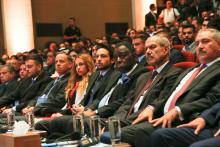 سمو الأمير الحسين بن عبدالله الثاني، ولي العهد، خلال افتتاح أعمال المؤتمر العالمي للشباب والأمن والسلام