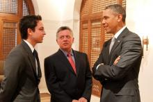 H.R.H. Crown Prince Al Hussein bin Abdullah II and His Majesty King Abdullah II ibn Al Hussein speak to US President Mr. Barack Obama in  Amman,March 2013