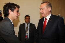 H.R.H. Crown Prince Al Hussein bin Abdullah II greets RecepTayyipErdoğan, the Prime Minister of Turkey