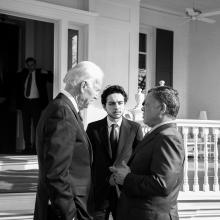 H.R.H. Crown Prince Al Hussein bin Abdullah II with His Majesty King Abdullah II ibn Al Hussein and US Vice President Joe Biden, in Washington D.C.  February 2014
