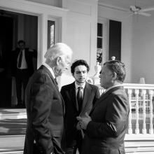H.R.H. Crown Prince Al Hussein bin Abdullah II with His Majesty King Abdullah II ibn Al Hussein and US Vice President Joe Biden, in Washington D.C.  February 2014