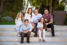 H.R.H. Crown Prince Al Hussein bin Abdullah II with Their Majesties King Abdullah II and Queen Rania Al Abdullah, T.R.H. Prince Hashim bin Abdullah II, Princess Iman  bint Abdullah II and Princess Salma bint Abdullah II