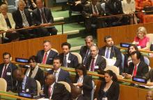جلالة الملك عبدالله الثاني وسمو الأمير الحسين، ولي العهد، خلال الجلسة الافتتاحية لاجتماعات الدورة الثانية والسبعين للجمعية العامة للأمم المتحدة