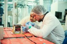 HRH Crown Prince Al Hussein bin Abdullah II at the Jordan University for Science Technology where he inspected the final stages of a project to launch Jordan's first nanosatellite