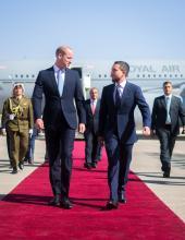 نائب جلالة الملك، سمو الأمير الحسين بن عبدالله الثاني، ولي العهد، يستقبل سمو الأمير ويليام دوق كامبريدج في مطار ماركا العسكري