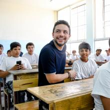 """HRH Crown Prince Al Hussein bin Abdullah II pays a surprise visit to Zayd bin Haritha School in Madaba and checks on activities held as part of national summer programme """"Bassma"""""""