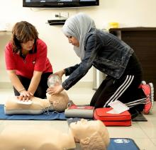 Sports Therapists learn new methods of CPR in Evidence Based Practice training - Qusai Initiative, May 2014