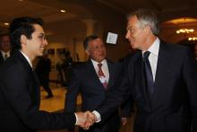 H.R.H. Crown Prince Al Hussein bin Abdullah II with His Majesty King Abdullah II ibn Al Hussein and Mr. Tony Blair