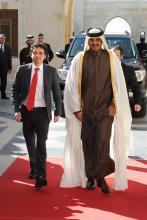 سمو الأمير الحسين بن عبدالله الثاني، ولي العهد، مع ولي عهد قطر الشيخ تميم بن حمد آل ثاني-عمان- كانون الثاني - ٢٠١٢