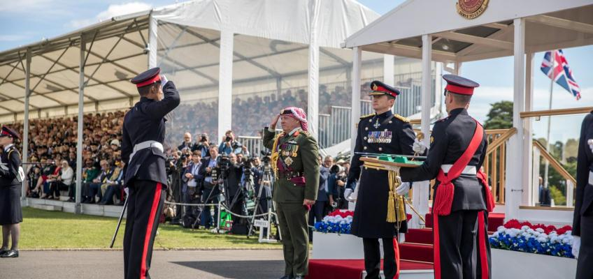 King delivers speech at Sandhurst Sovereign's Parade as Crown Prince graduates from RMAS