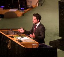 سمو الأمير الحسين، ولي العهد خلال إلقاء كلمة الأردن أمام الجمعية العامة للأمم المتحدة